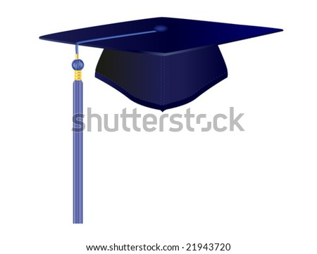 vector illustration of graduation cap on white