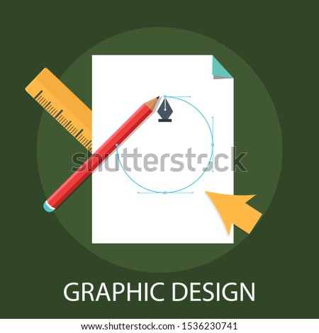 "Vector illustration of graphic design & creative concept with ""graphic design"" technology and marketing icon."