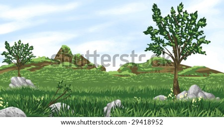 Vector illustration of grassland valley landscape with vector sky. Artwork does NOT include any gradients, to maximize compatibility with the vector software of your choice