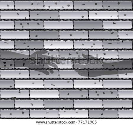 vector illustration of gray brick wall and shadows of people's hands