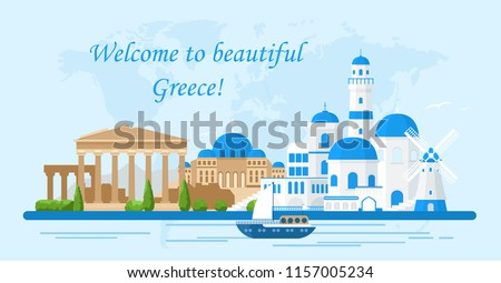Vector illustration of Greece travel concept. Welcome to Greece. Santorini buildings, Acropolis and temple icons. Tourism banner in bright colors and flat cartoon style.