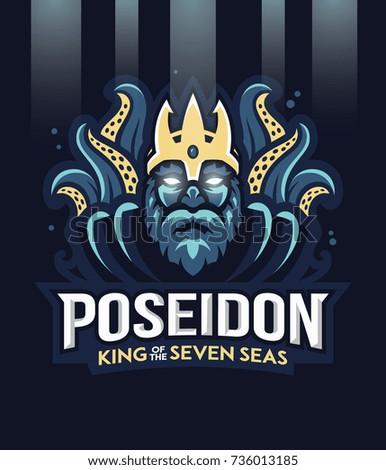 Vector illustration of greek god Poseidon king of the seven seas