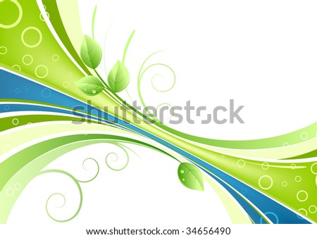 Vector illustration of green abstract background with leaves and water drops