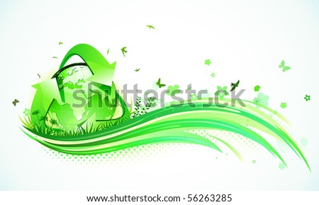 Vector illustration of green abstract lines background - composition of curved lines, floral elements and recycling symbol.