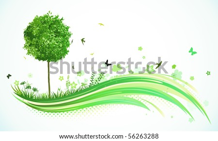 Vector illustration of green abstract lines background - composition of curved lines, floral elements and funky tree.