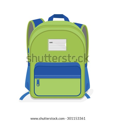 vector illustration of  Green and Blue school Bag, Backpack, isolated on white background