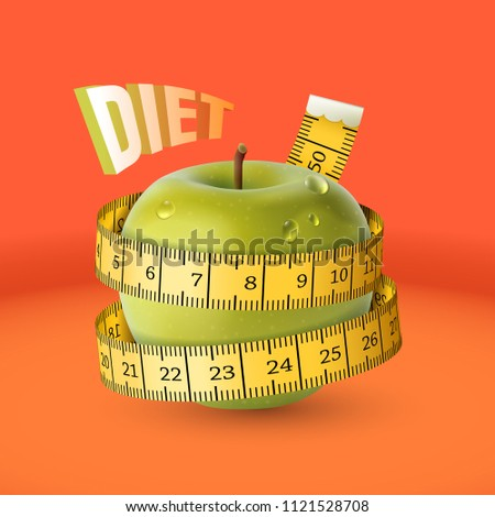 Vector illustration of green apple with yellow measuring tape as concept of diet. The tailor centimeter ribbon is wrapped around a fresh wet apple