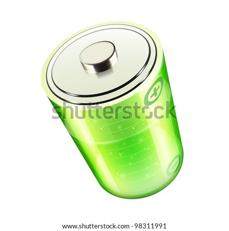 Vector illustration of green battery icon for web design isolated on the white background