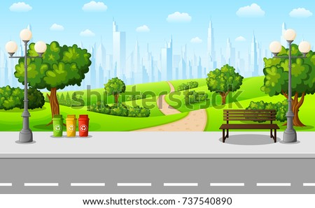 Vector illustration of Green city park with bench and streetlight on suburban