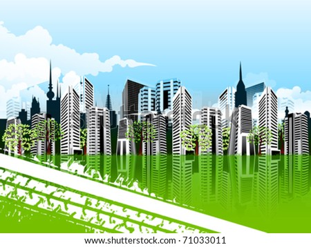 Vector illustration of green cityscape