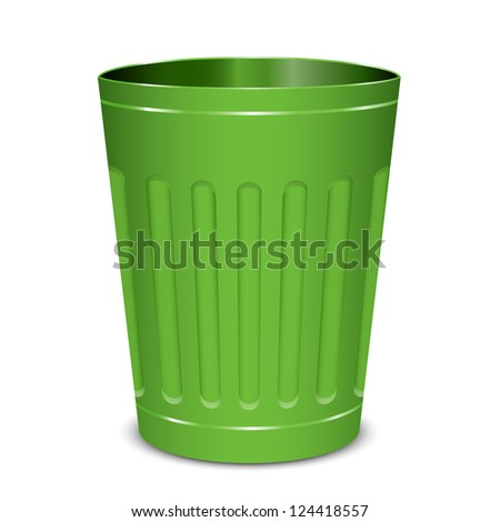 Vector illustration of green garbage can