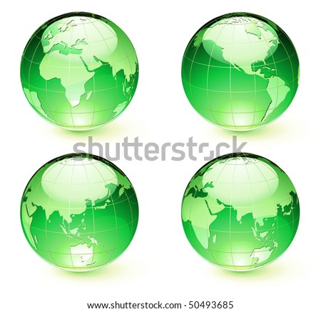 Vector illustration of green Glossy Earth Map Globes different angles