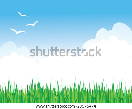 Vector illustration of green grass against a blue sky with fluffy clouds and some birds