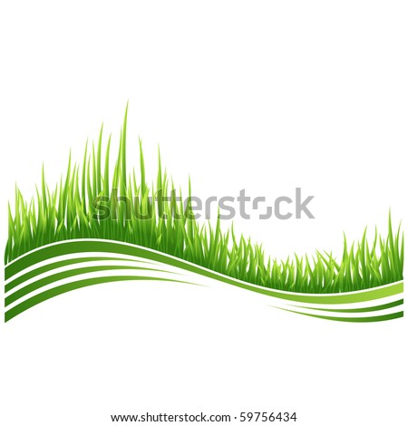 Vector illustration of green grass wave background.