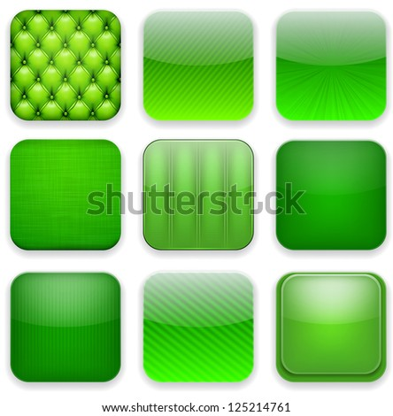 Vector illustration of green high-detailed apps icon set. Eps10.