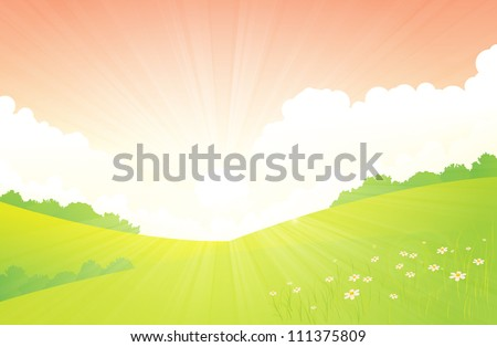 Vector illustration of green landscape in the spring season.