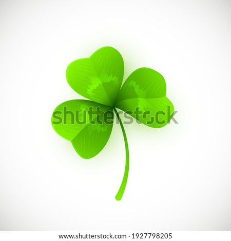 Vector Illustration of Green Leaf Clover Isolated on White Background. St. Patricks Day Symbol. Foto d'archivio ©