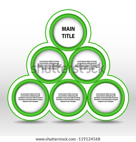Vector illustration of green progress pyramid. Timeline template. Timeline circle template, Vector guide template. Six timeline circles template. Green color infographic. Layered document.