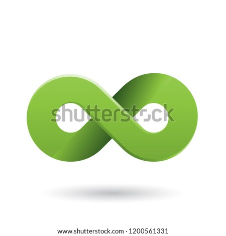 Vector Illustration of Green Shaded and Thick Infinity Symbol isolated on a White Background