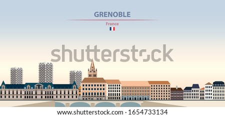 Vector illustration of Grenoble city skyline on colorful gradient beautiful daytime background