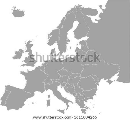 vector illustration of Grey Europe map on white background Foto stock ©
