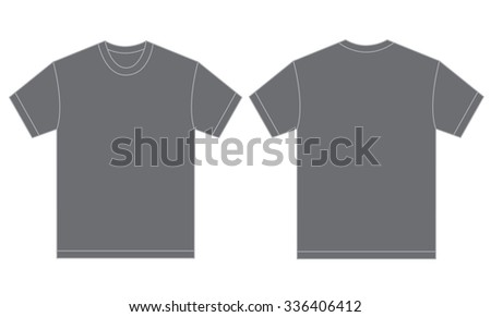 Vector Illustration Of Grey Shirt Isolated Front And Back Design Template For Men