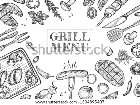 Vector illustration of grill menu set. Barbeque, grilled meat, sausage and vegetables, spices and herbs, fork, knife, skewer and other utencils. Vintage hand drawn style.