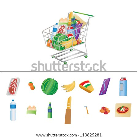 Vector illustration of groceries in a shopping cart and set of groceries individually isolated on white background