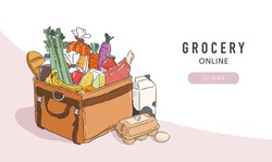 Vector illustration of grocery products fully packs in the delivery bag. Online grocery order and delivery service banner template.