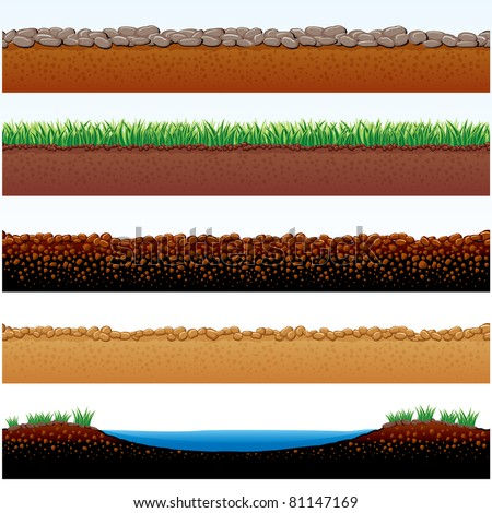 Vector Illustration of Ground cutaway: field of grass, stones roadway, desert sands, cobblestone road