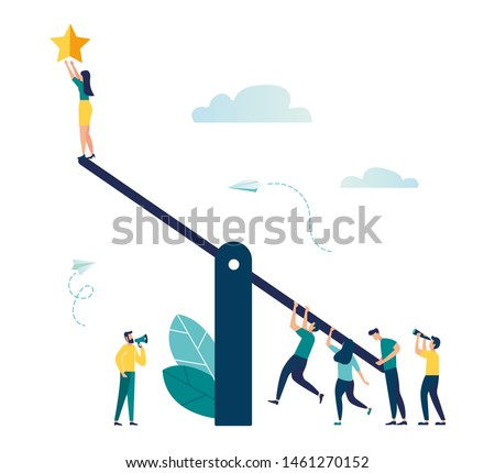 Vector illustration of groups of people on a swing and outweighs them to get a star from the sky, achieving success