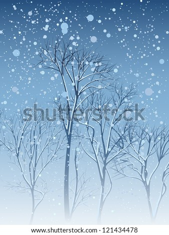 Vector illustration of grove of trees with snow on the branches in the snowfall.