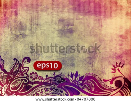 Vector illustration of grunge floral background.