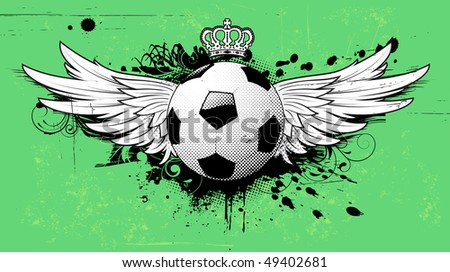 Vector illustration of grunge football insignia or badge with two wings, crown and floral elements