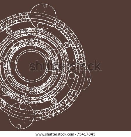 vector illustration of grunge round maya calendar