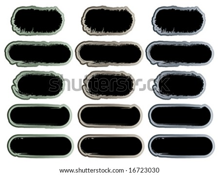 Vector illustration of 15 grunge style stickers or frames with detailed cracks and washed out textures.