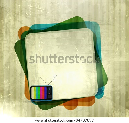 vector illustration of grunge texture background with tv banner