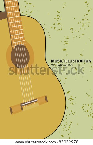Vector illustration of guitar on green background