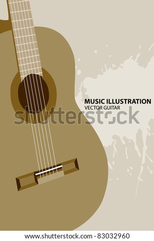 Vector illustration of guitar on light background
