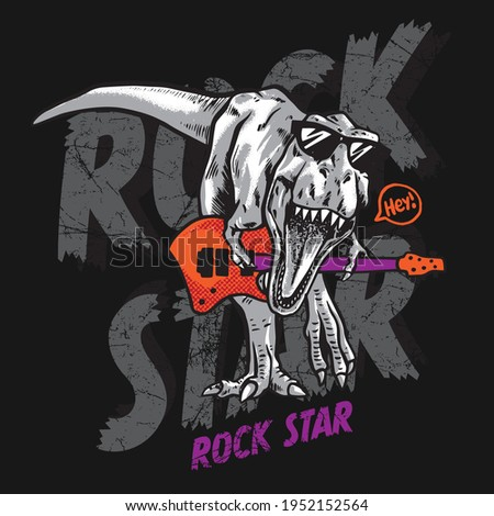 Vector illustration of guitar playing dinosaur. Rock star dinosaur. For boys t-shirt