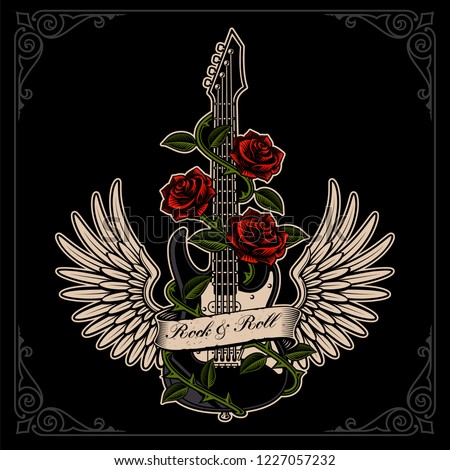 Vector illustration of guitar with wings and roses in tattoo style on the dark backgroud. Layered, text is on the separate group.