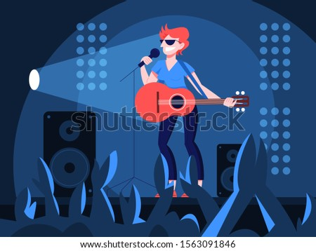 Vector illustration of guitarist playing music on the stage. Woman holding an acoustic guitar and sing to the crowd. Female performer standing with guitar and performing a show.
