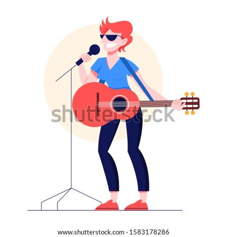 Vector illustration of guitarist playing music on the stage. Woman holding an acoustic guitar and sing. Female performer standing with guitar and performing.