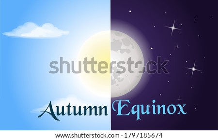 Vector illustration of half sun and half moon as autumn equinox, day and night equal 12 hours. Early fall astronomy. Nights become longer than Days in the Northern Hemisphere.