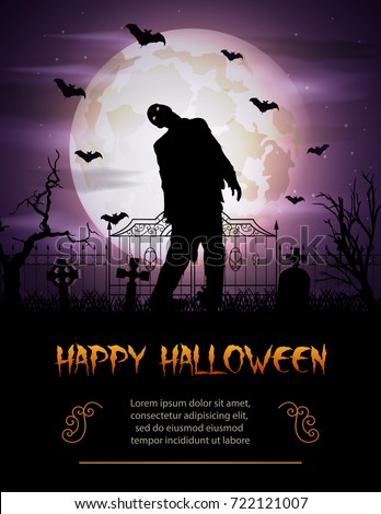 Vector illustration of Halloween background with zombie walking out from grave #722121007