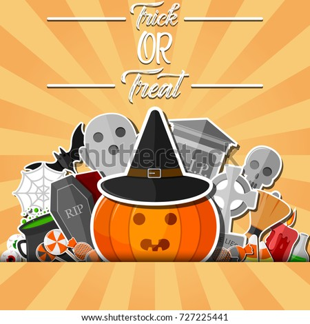 Vector illustration of Halloween banner with flat icons stickers on orange background