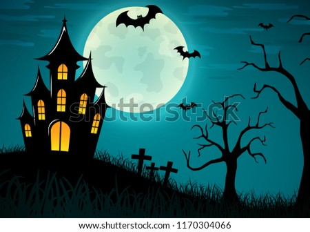 Vector illustration of halloween castle background design