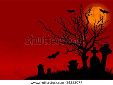Vector illustration of Halloween Cemetery in the night