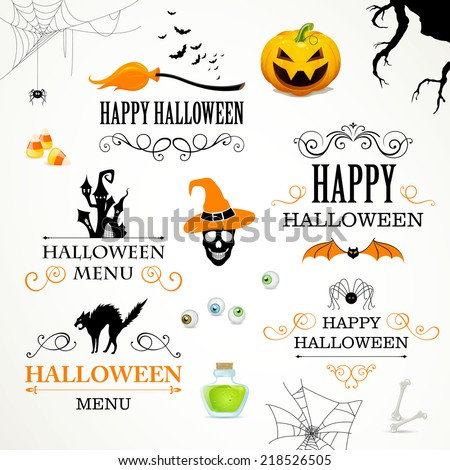 Vector Illustration of Halloween Design Elements