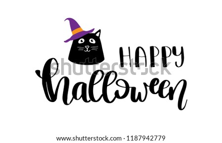 Vector illustration of Halloween kitten. Black cat holiday card